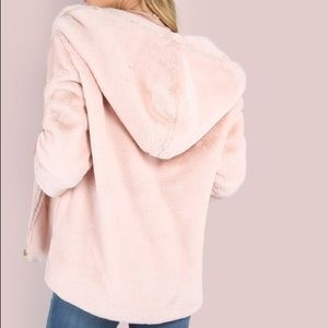 Pink zip up faux fur coat